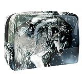 Neceser Viaje Hombre y Mujer Lobo Animal de Nieve Pequeño Bolsas de Aseo Impermeable, Neceser Maquillaje Pack Neceser Baño Toiletry Kit, Cosmético Organizadores de Viaje 18.5x7.5x13cm