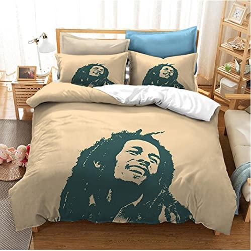 OfinaBiz Juego de Cama con Estampado 3D de Bob Marley, Fundas nórdicas, decoración de la...