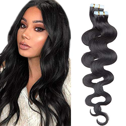 SEGO Tape Extensions Echthaar GEWELLT 18zoll/45cm 20 Stück Klebeband Haarverlängerung 100% Remy Haar 50G mit 10 PCS Ersetz-Tape Schwarz#1