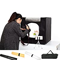 Professional Photo Studio Box,Portable 16x16x16 Inches LED Dimmable Photography Light Box Shooting Tent Kit with 3PVC Backdrops,Camera Mini Tripod and Carry Bag