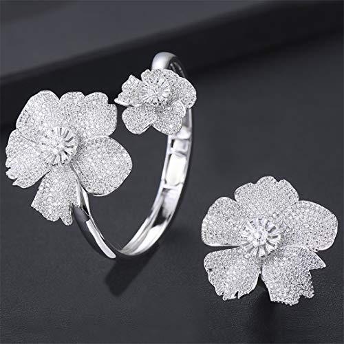 ZIRCOSHNY Luxury Flower African Conjunto de anillos de boda para mujer CZ Cristal CZ Circonita Dubai Bridal Jewelry Set Silver 9