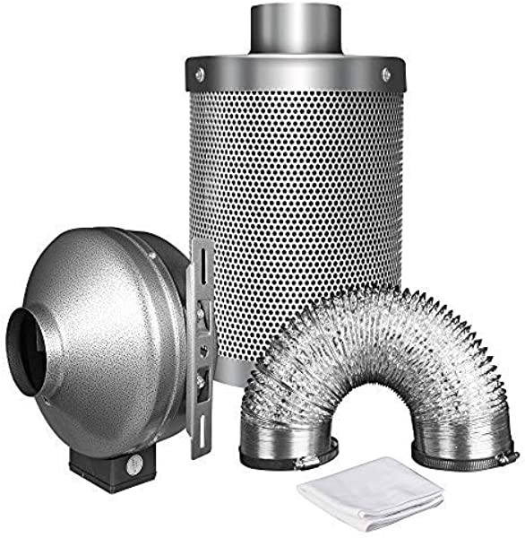 IPower 8 Inch 750 CFM Duct Inline Fan With 8 Carbon Filter 25 Feet Ducting Combo For Grow Tent Ventilation