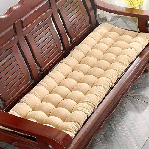 DABAI99 Cojín grueso para banco, cojín de banco, rectangular, suave, cojín para silla de jardín, metal o banco de madera, 2 3 plazas (beige, 150 x 48 cm)