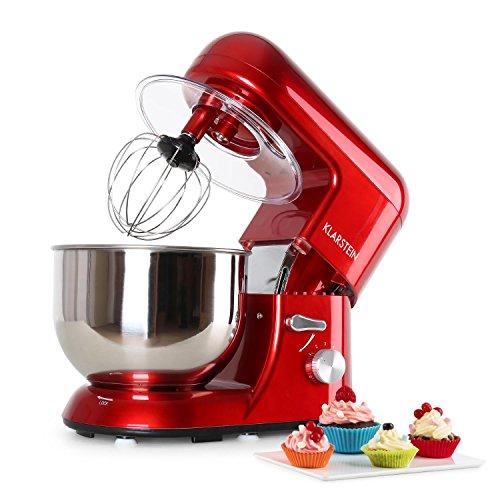 Klarstein TK1 Bella Rossa - Robot de Cocina , Batidora , Amasadora , 1200 W , 5,2 litros , 1,6 PS , Batido planetario , 6 Niveles , Recipiente Acero INOX , Varillas Metal , Rojo