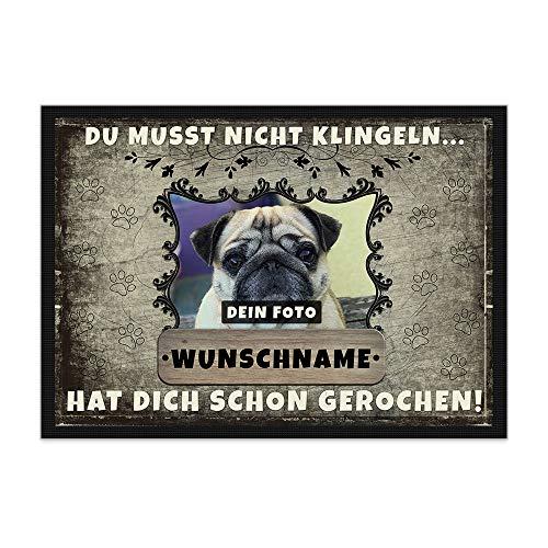 Print Royal Fußmatte personalisiert mit EIGENEM Hundefoto und Wunschname selbst gestalten - Hunde-Fußmatte mit Hundename Bedrucken Lassen - Geschenk für Hundebesitzer - 90 x 70 cm