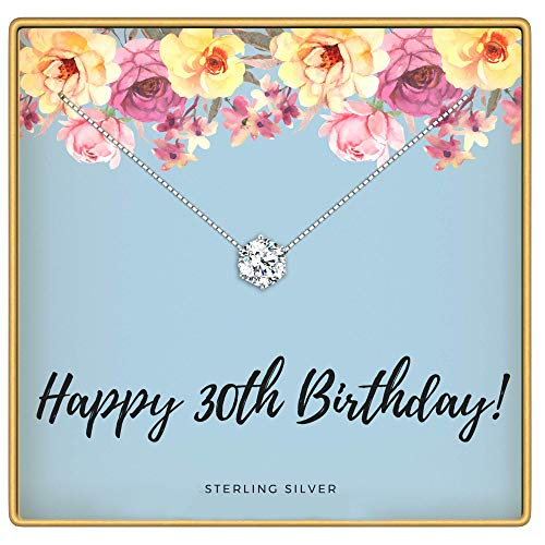 KEDRIAN 30th Birthday Necklace, 925 Sterling Silver, 30 Birthday Gifts Necklaces For Women, Pendant Gift For 30 Year Old Woman Birthday, Ideas For 30th Birthday Gifts For Her, 30 And Fabulous Jewelry