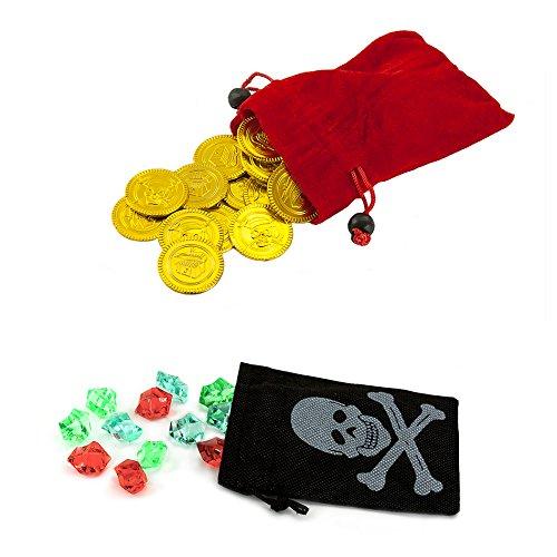Oblique-Unique Piraten Beutel mit Edelsteinen & Gold - Piratenparty, Piraten Schatzbeutel, (1 x schwarzer Beutel mit 12 Edelsteinen & 1 x roter Beutel mit 36 Goldtalern)