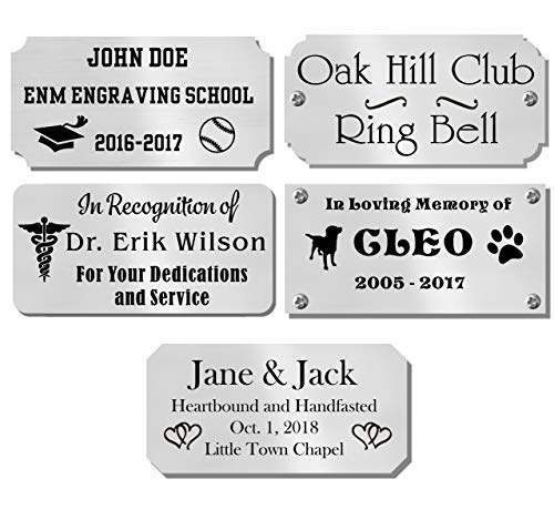 """1"""" H x 2.5"""" W, Custom Engraved Solid Satin Brass Name Plates, Polished Finish, Nameplate Memorial Tag Award Plaque, Made to Order, Made in USA (Polish Silver)"""
