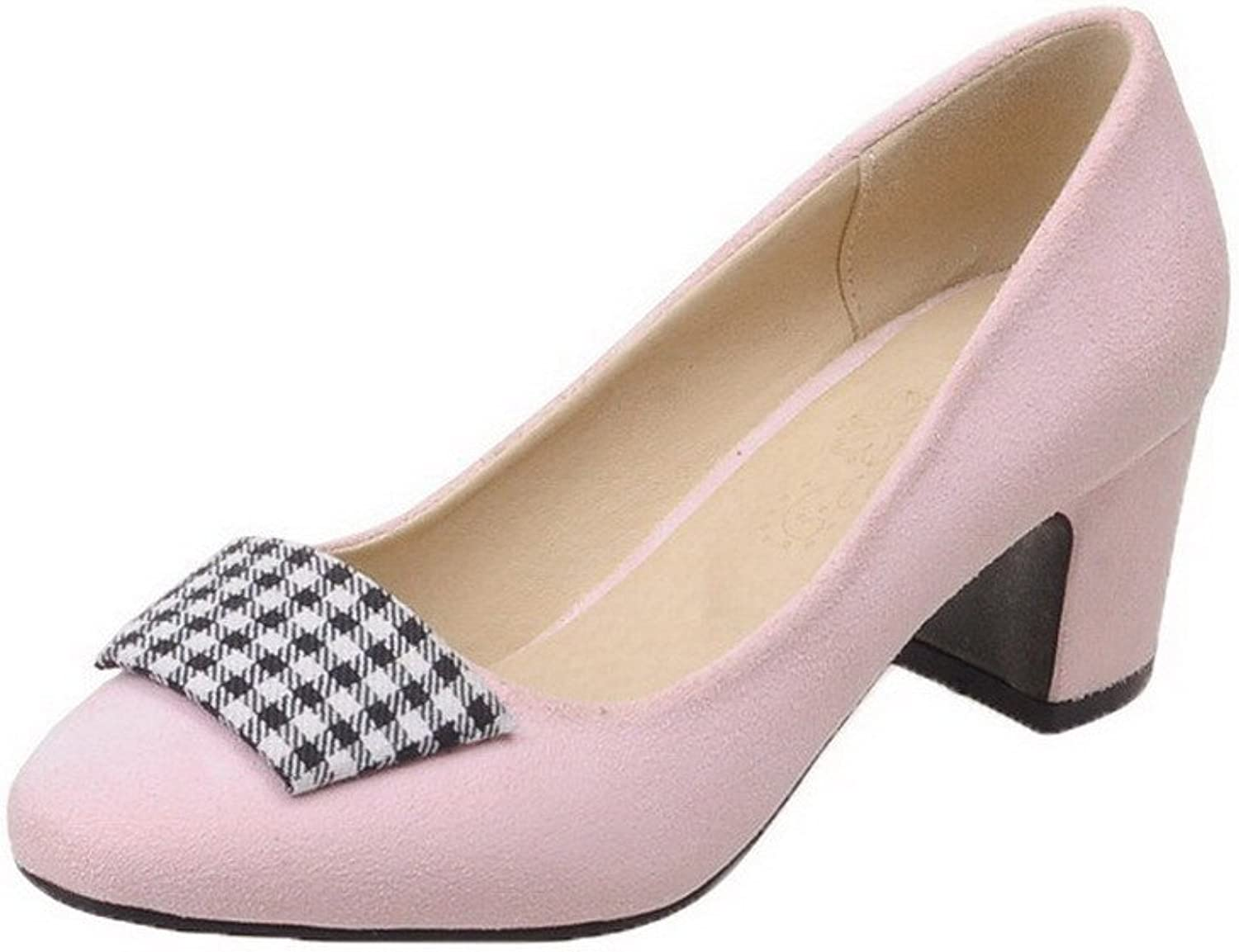 WeiPoot Women's Solid Imitated Suede Kitten-Heels Pull-on Pumps-shoes
