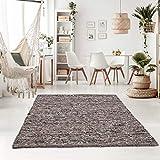Taracarpet Handweb-Teppich Oslo Wolle im Skandinavischem Landhaus Design Wohnzimmer Esszimmer Schlafzimmer Flur Läufer beidseitig verwendbar 120x170 cm grau Multi