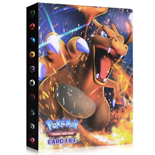 Funmo Sammelkarten Album, Pokemon Karten GX EX Trainer Alben, Pokémon Sammelkarten Zubehör, Pokemon Album für Sammel Karten GX EX Pokemonkarten Heft Pokemon-Karten (30 Seiten) (Charizard)