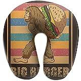 Forma De U Almohada,Retro Bigfoot Burger Neck Support Almohada para La Cabeza,Almohada para El Cuello con Funda Lavable para Autobús,Automóvil,Cama,Avión,Oficina,Tren