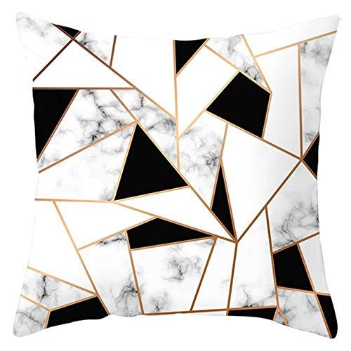 AtHomeShop Fundas de cojín de 50 x 50 cm, de poliéster, con patrón triangular, trapecio, mármol, suave, cuadradas, para coche, salón, dormitorio, negro, blanco y gris, estilo 13