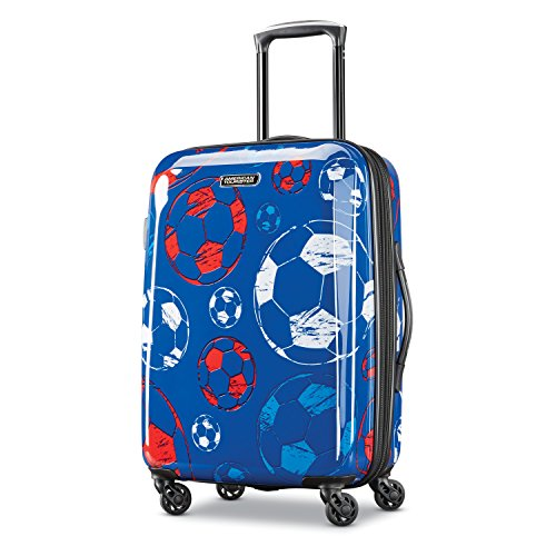 American Tourister Moonlight Hardside Expandable Luggage with Spinner Wheels, Red/White/Blue, Carry-On 21-Inch