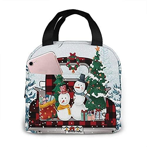 VJSDIUD Bolsa de almuerzo Bolsa de asas Árbol de Navidad blanco como la nieve Camión rojo con muñecos de nieve para ir a casa Fiambrera Bolsa aislada Bolsa de asas Reutilizable Imp