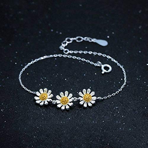 BENGKUI Women'S 925 Sterling Silver Bracelet,Romantic Fashion Lovely Chrysanthemum Flowers For Weomen Wedding Party Fine Jewelry For Women &Amp; Birthday Gifts For Mum Wife