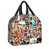 Anime One Piece Lunch Bag Tote Meal Bag Reusable Insulated Portable Game Lunch Box Handbags for Kids Boys Girls