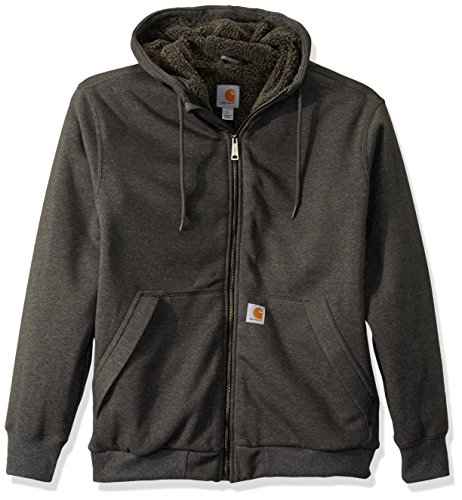 Relaxed fit 10.5-ounce, 50 percent cotton/50 percent polyester blend with rain defender durable water repellent Sherpa lined Attached, she rpa-lined extended hood for extra warmth Full-length antique nickel zipper with storm flap