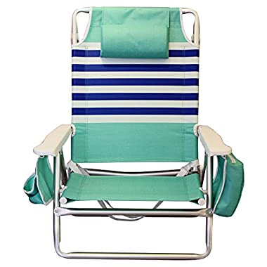 Nautica Reclining Portable Beach Chair with Insulated Cooler (Mint and Blue)