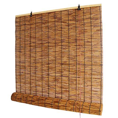 GRTBNH Retro Bambus Roll Up Shade, NatüRliche Reed Jalousien mit Hebevorrichtung, Blackout Bamboo Rollos füR Wohnzimmer Zu Hause, Beschattungsrate 60% - 70%