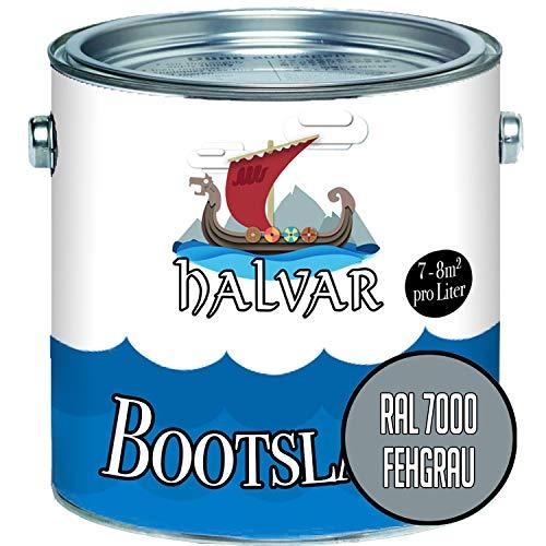 Halvar 2-K MATT Yachtlack Grau RAL 7000-7047 Bootslack für GFK/Polyester/Kunststoff 2-Komponenten Lack inkl. Härter (1 L, RAL 7000 Fehgrau)