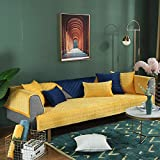YUTJK Nicht elastisch Sofa überwurf Chaise Longue Linke & rechte Liege,frontansicht,Chenille,Superweiche Dicke Plüschsofabezug,Für Schlafzimmer,Gelb_70×180cm
