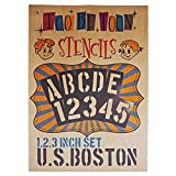 ステンシルシート アルファベット大文字&数字セット U.S.BOSTON (1,2,3インチ 3サイズセット)