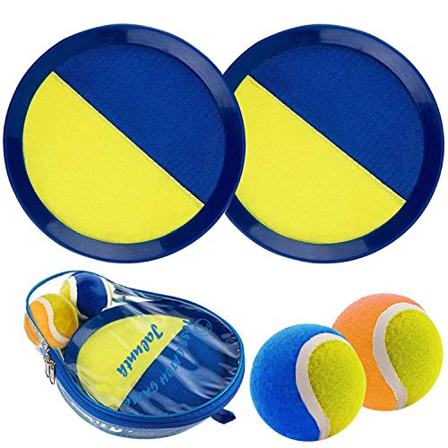 Jalunth Ball Catch Paddle Set Games - Beach Toys Back Yard Outdoor Games Lawn Backyard Throw Toss Age 3 4 5 6 7 8 9 10 11 12 Years Old Boys Girls Kids Adults Family Outside Easter Gifts Blue Yellow