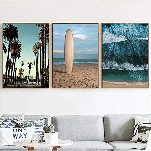 AgwKE2 Sea Wave Beach Palm Tree Car Rome Map Wall Art Canvas Painting Nordic Posters en Prints Wall Pictures for Living Room Decor 40x60cmx3 zonder frame