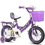 N&I Bicicleta Flash Wheel Children's Bicycle Carbon Steel Thickened Frame Bike 3-7 Years Old Children's Bicycle 12/18 inch Children's Bikes Purple 18 inch