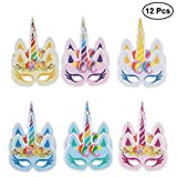 LUOEM 12 unids niños Fiesta de cumpleaños Unicornio máscara para la Fiesta de cumpleaños...