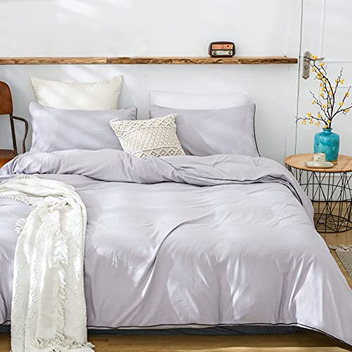 LuckLF 100% Washed Polyester Duvet Cover Queen, 3pcs Bedding Duvet Cover Set, Washed Cotton Effect, Solid Color Soft and Breathable with Zipper Closure & Corner Ties, Light Grey (Embedded Rope)