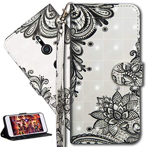 HMTECH Sony Xperia XZ2 Case,Sony Xperia XZ2 Cover,3D Black Cactus Flower PU Leather Wallet Flip Case Card Holder Book Style Wallet Case Cover for Sony Xperia XZ2,Black Cactus Flower YX