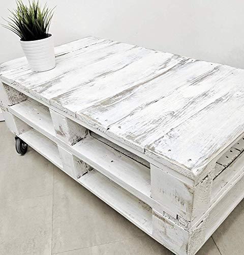 DydayaHome Mesa de Centro Vintage Blanca echa con Madera de Palets & Pale - Mesas auxiliares Bajas & pequeñas - Muebles Blancas & Objectos Vintage