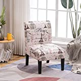 Black and Beige Paris & Eiffel Tower Print Fabric Armless Contemporary Accent Chair, Single (Black & Beige)