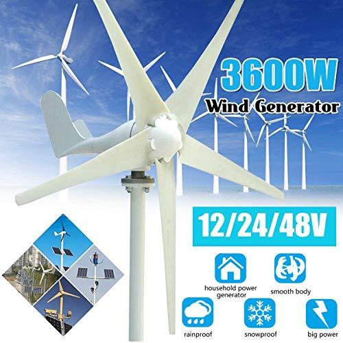 SUNBAOBAO 3600W 12/24 / 48 V AC de turbina eólica 5 Hojas Permanente Inicio generador con regulador Solar de la luz de Calle,48V