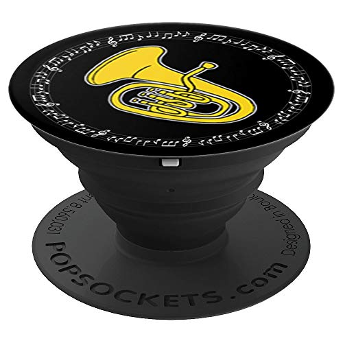 Euphonium Player Band Gift - Black - Music Notes in Circle PopSockets Grip and Stand for Phones and Tablets
