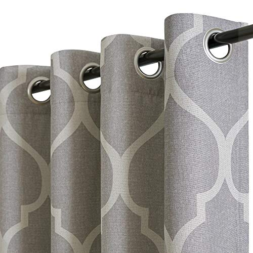 """jinchan Linen Textured Curtains Moroccan Tile Design Blackout Curtains for Bedroom Living Room Thermal Insulated Window Treatment 2 Panels 45"""" L Grey"""