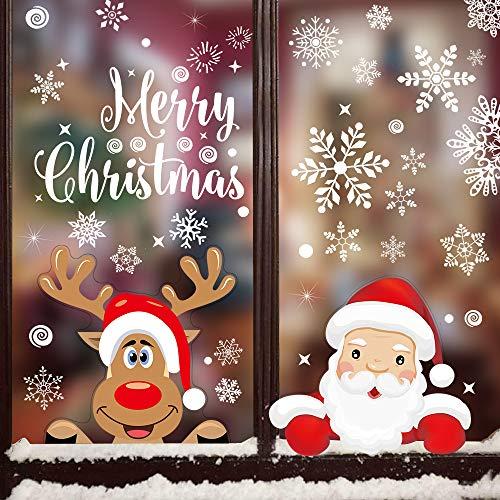 Eyscoco Fensterbilder Weihnachten, 360 Stück Schneeflocken Fensterdeko Mit Weihnachtsmann Elch Abnehmbare Fensterbilder für Weihnachts,Winter Dekoration für Türen,Schaufenster,Vitrinen,Glasfronten