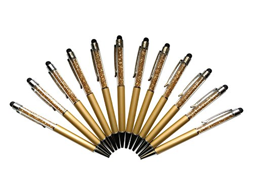 12pcs/pack MengRan Bling Bling 2-in-1 Slim Crystal Diamond Stylus and Ink Ballpoint Pens (gold)