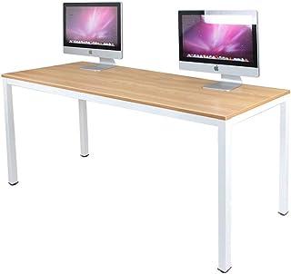 میز کامپیوتر 63 اینچ X-Large DlandHome ، تخته چوب کامپوزیت ، میز کار خانگی مناسب و ثابت / ایستگاه کاری / میز ، پایه های سفید و ساج BS1-160TW ، 1 بسته