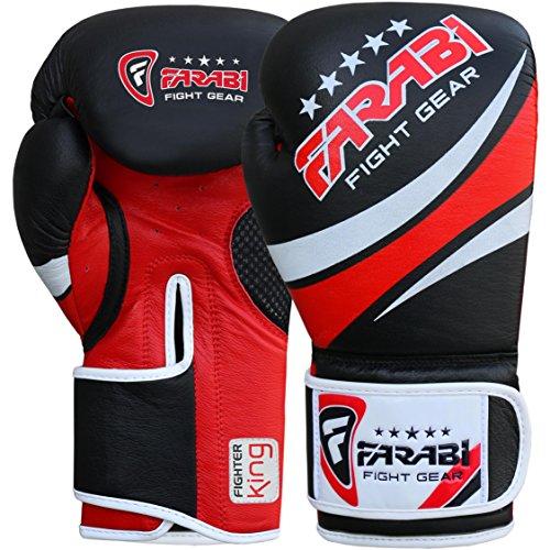 Farabi Fight Gear Guanti da Boxe, Kickboxing di qualità Professionale, Muay Thai Borse, Guanti da Allenamento (340,2Gram)