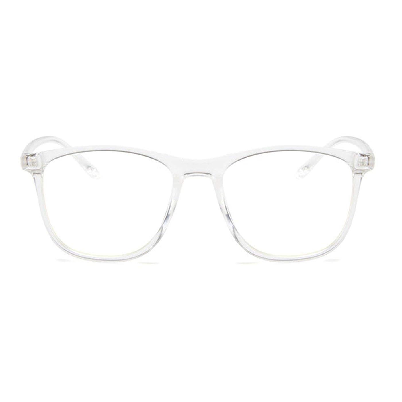 満員天気放つ韓国の学生のプレーンメガネ男性と女性のファッションメガネフレーム近視メガネフレームファッショナブルなシンプルなメガネ-透明ホワイト