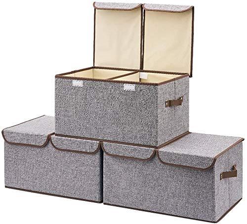 Xicaimen Caja de Almacenamiento de 3 Paquetes con TapaCube Canasta de Almacenamiento Sistema de organización Cajas de Espacio de Almacenamiento Canastas Cajas - (Gris)