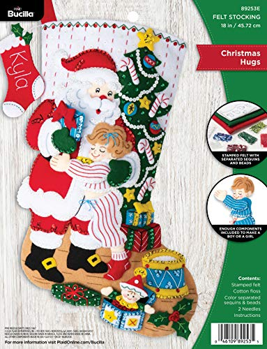 Bucilla Hugs, Felt Applique Christmas Stocking Kit, 18'