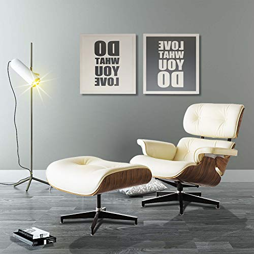 Lounge Chair Indoor Recliner w/Ottoman Top Grain Leather Classic Mid Century...