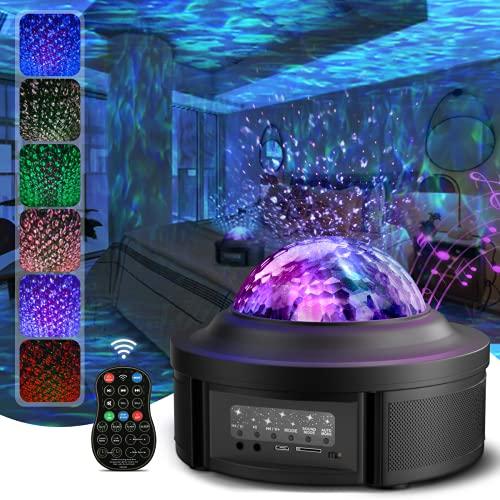 LED Sternenhimmel Projektor, JOMARTO Projektor Lampe mit Fernbedienung/Bluetooth Lautsprecher, Nachtlicht Baby mit 4 Farben Wasserwellen/Starry Stern für Party, Geburtztag oder Zimmer Dekoration