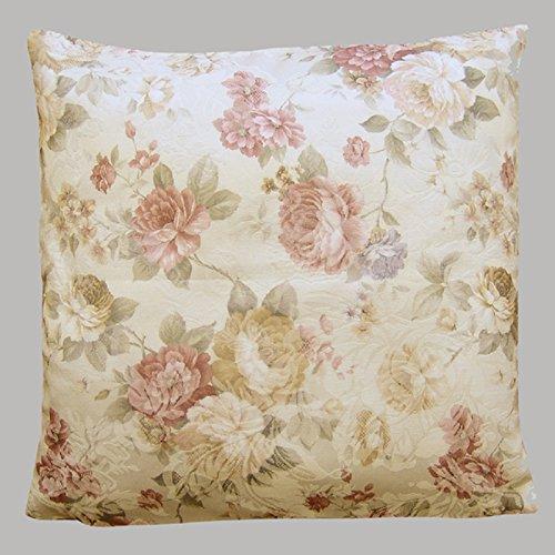 heimtexland ® LANDHAUS Rosen Kissenhülle in 50x50 cm aus hochwertigem Jacquard in creme rosé mit Blumen Druck Rose - Kissen Country Chic Typ442