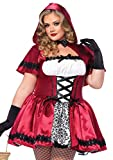 Leg Avenue Women's 2 Piece Gothic Riding Hood Plus Size, Red/White, 1X / 2X