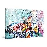 Startonight Cuadro Moderno en Lienzo Pintura Abstracta, Mariposa Coloreada, Decoración de la Pared Enmarcada para Salon, Grande 80 x 120 cm